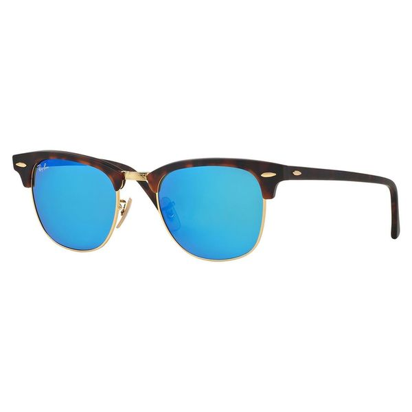 ray ban clubmaster blue lenses  Ray-Ban Clubmaster RB3016 114517 Unisex Havana Frame Blue Mirror ...
