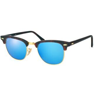 Ray-Ban Clubmaster Unisex Havana Frame Blue Mirror Lens Sunglasses