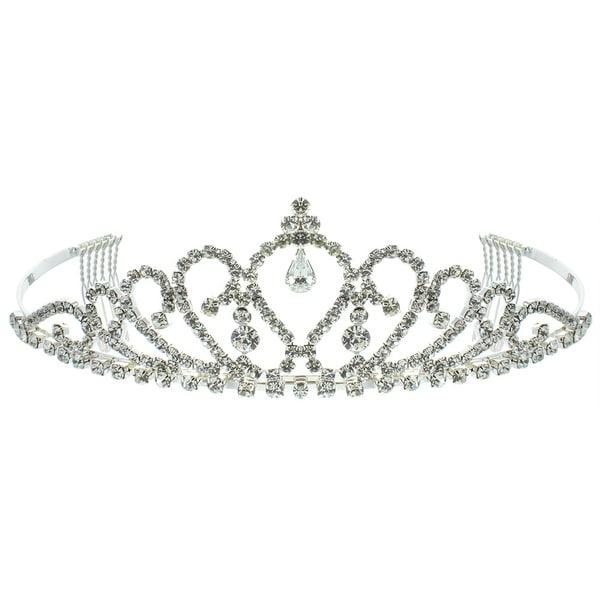 Kate Marie 'Amelia' Charming Silver Rhinestone Crown Tiara with Hair Combs