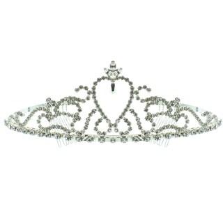 Kate Marie 'Brianna' Charming Silver Rhinestone Crown Tiara with Hair Combs