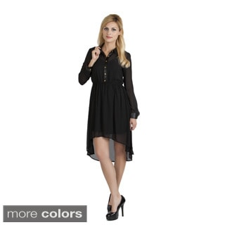 Stanzino Women's High-low Long Sleeve Shirt Dress