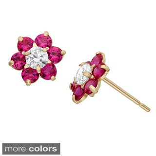 Junior Jewels 14k Gold Multi-color Cubic Zirconia Flower Earrings