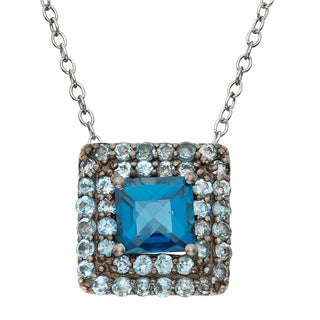 Gioelli Sterling Silver Black Rhodium-plated London Swiss Blue TopazSquare Pendant Necklace