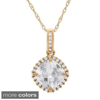 Gioelli 10k Gold 8mm Cushion Pave Created White Sapphire Pendant