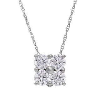 Gioelli 10k Gold Round Created White Sapphire Square Pendant Necklace