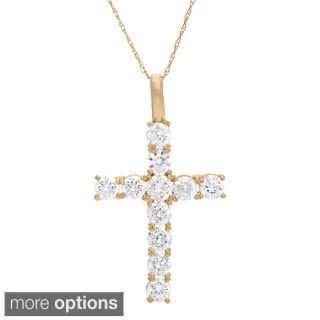 Gioelli 10k Gold Round Created White Sapphire Cross Pendant Necklace