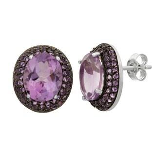 Gioelli Sterling Silver Black Rhodium Amethyst Designer Earrings