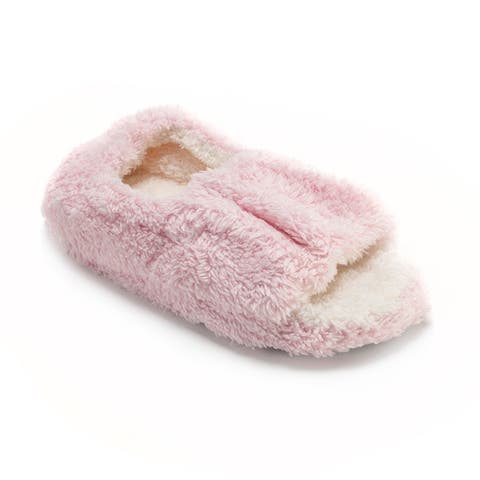 Muk Luks Womens Pink Microterry Open-toe Slippers