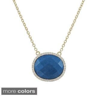 Luxiro Gold over Silver Oval Color Cubic Zirconia Semi-precious Gemstone Necklace