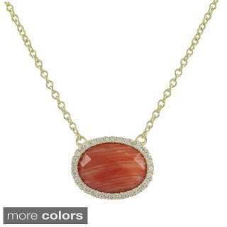 Luxiro Gold over Sterling Silver Oval-cut Gemstone and Cubic Zirconia Necklace