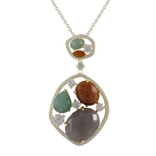 Luxiro Gold over Sterling Silver Multi-gemstone Pendant Necklace