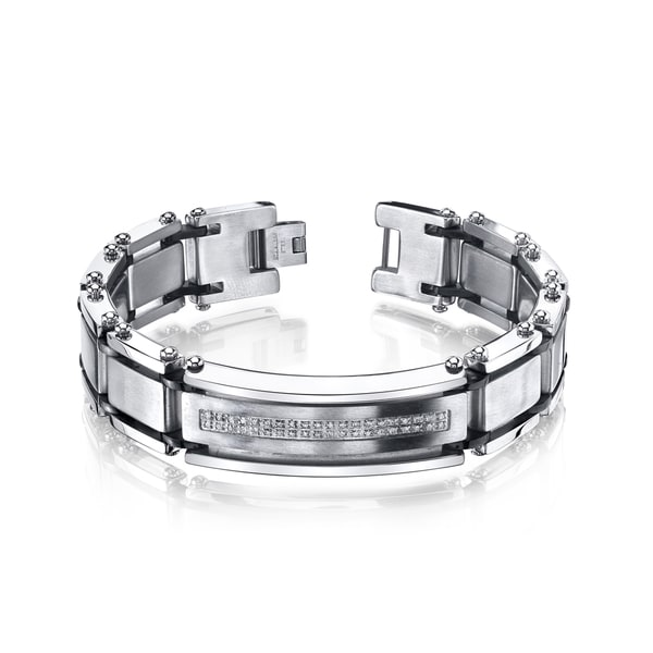 Shop Men S Stainless Steel Diamond Accent Bracelet Free