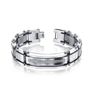 Men's Stainless Steel Diamond Accent Bracelet