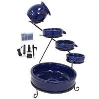 Sundance Blue Solar Terracotta Ceramic Water Fountain