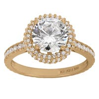 Gioelli 10k Yellow Gold 4 1/2ct TGW Fancy Pave Cubic Zirconia Gallery Ring