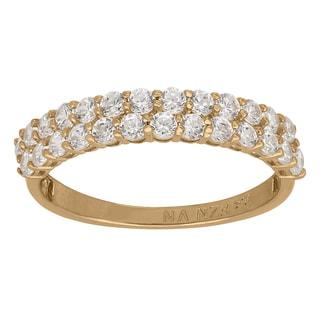 Gioelli 10k Yellow Gold 1 3/5ct TGW Double-row Round Cubic Zirconia Ring