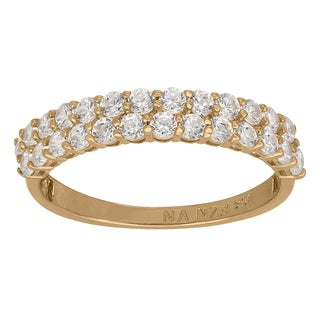 Gioelli 10k Yellow Gold 1 3/5ct TGW Double-row Round Cubic Zirconia Ring