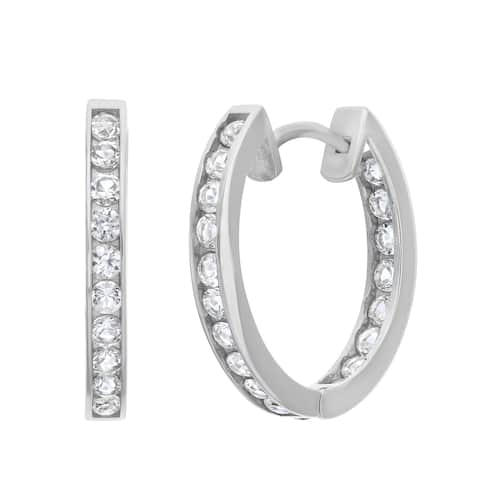 Gioelli 10k White Gold Created White Sapphire Accented Hoop Earrings