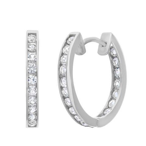 Gioelli 10k White Gold Created White Sapphire Accented Hoop Earrings