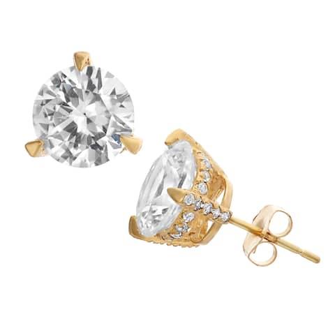 Gioelli 10k Gold Created White Sapphire Stud Earrings