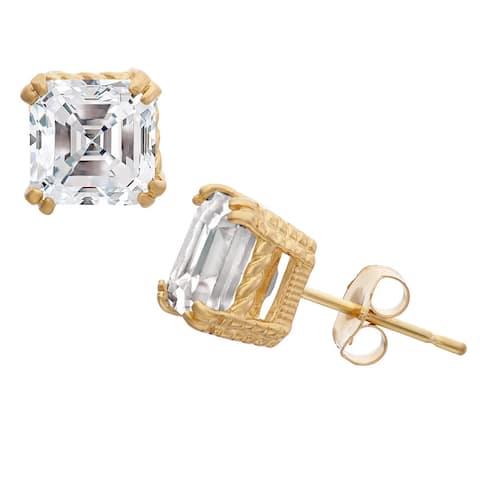 Gioelli 10k Gold Asscher Cut Created White Sapphire Stud Earrings