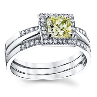 Oliveti Sterling Silver Two-in-One Princess-cut Yellow Cubic Zirconia Bridal Engagement Ring Set