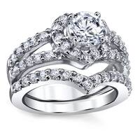 Oliveti Sterling Silver Heart Shape Cubic Zirconia Bridal Ring Set