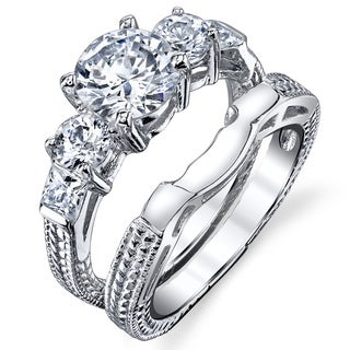 Oliveti Sterling Silver Carved Past Present Future Round-cut Cubic Zirconia Bridal Ring Set
