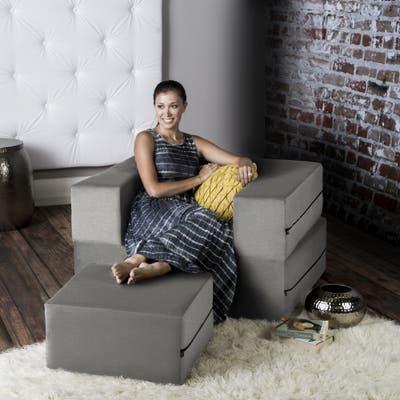 Jaxx Zipline Convertible Sleeper Chair and Ottoman/ Twin-size Bed