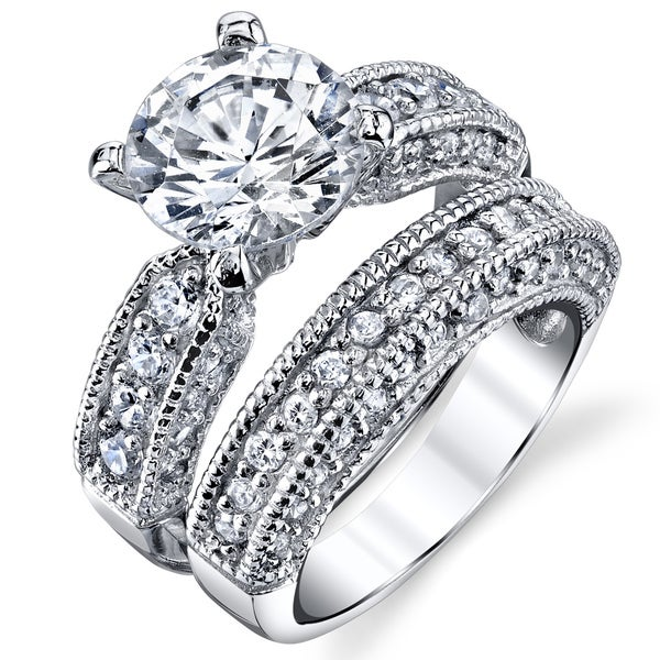 Oliveti Sterling Silver Round-cut Milgrain Cubic Zirconia Bridal Set