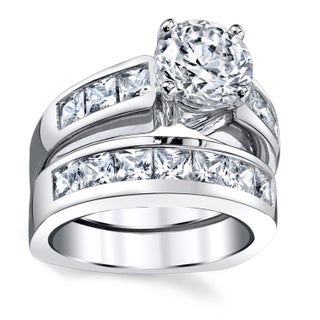 Oliveti Sterling Silver Cubic Zirconia Bridal Set Engagement Ring (More options available)