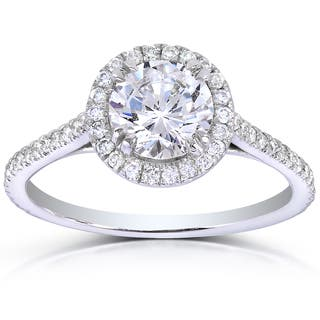 Annello by Kobelli 14k White Gold 1 1/3ct TDW Round-cut Diamond Halo Engagement Ring|https://ak1.ostkcdn.com/images/products/9375990/P16566762.jpg?impolicy=medium