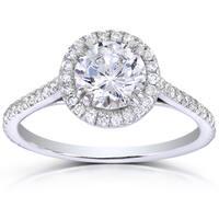 Annello by Kobelli 14k White Gold 1 1/3ct TDW Round-cut Diamond Halo Engagement Ring