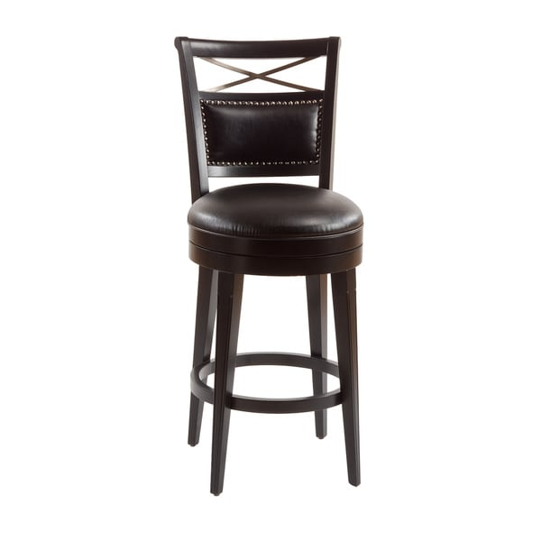 Tate Street Glossy Black Nailhead Trim Swivel Stool Free