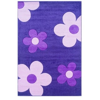 Linon Corfu Collection Purple/Baby Pink Area Rug (5' x 7'7)