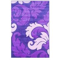 Linon Corfu Collection Purple/ Baby Pink Area Rug (5' x 7'7) - 5' x 7''7