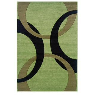 Linon Corfu Collection Lime/Black Area Rug (5' x 7'7)