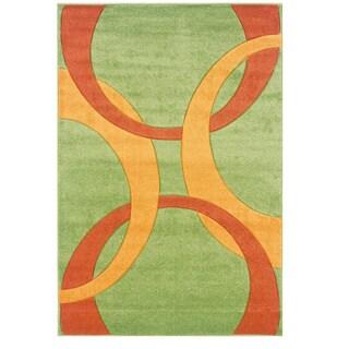 Linon Corfu Collection Lime/Goldenrod Area Rug (5' x 7'7)