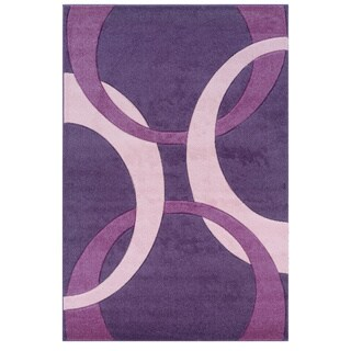 Linon Corfu Collection Purple/ Baby Pink Area Rug - 5' x 7'7