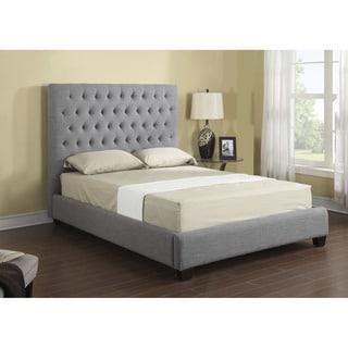 Emerald Home  Grey Linen Tufted Platform Upholstered Bed
