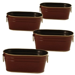 Wald Imports Metal Oval Planter (Set of 4)