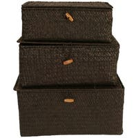 Wald Imports Brown Seagrass Trunks (Set of 3)
