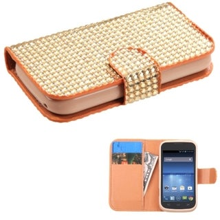 INSTEN Diamond Magnetic Snap Wallet Leather Phone Case Cover for ZTE Concord II Z730