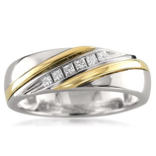 Montebello 14k Two-tone Gold Men's 1/5ct TDW Princess-cut White Diamond Wedding Band
