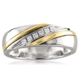Montebello 14k Two-tone Gold Men's 1/5ct TDW Princess-cut White Diamond Wedding Band (H-I, I1)