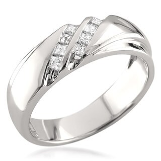 Brides Across America by Montebello 14k White Gold Men's 1/4ct TDW Princess-cut White Diamond Wedding Band (H-I, I1)
