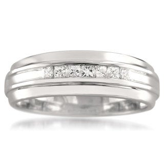 Montebello 14k White Gold Men's 1/3ct TDW Princess-cut Diamond Wedding Band