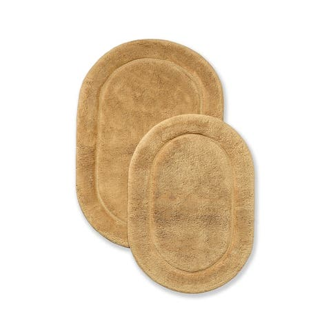 Miranda Haus Cotton 2-Piece Solid Non-Slip Oval Bath Rug Set