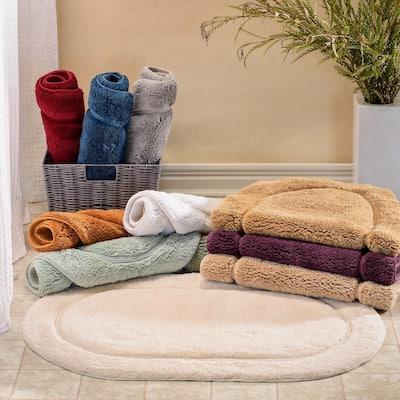 Miranda Haus Cotton Non-slip Oval 2-piece Bath Rug Set