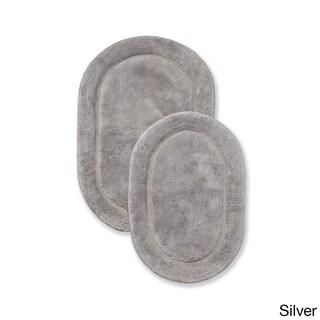 Superior Collection Luxurious Cotton Non-skid Oval Bath Rug 2-piece Set (Option: Silver)